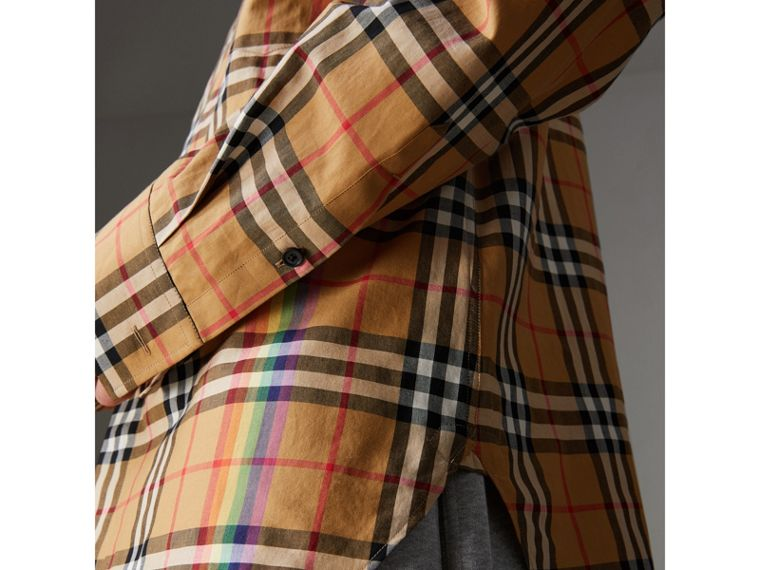 Rainbow Vintage Check Cotton Shirt in Antique Yellow - Women | Burberry United Kingdom - cell image 1