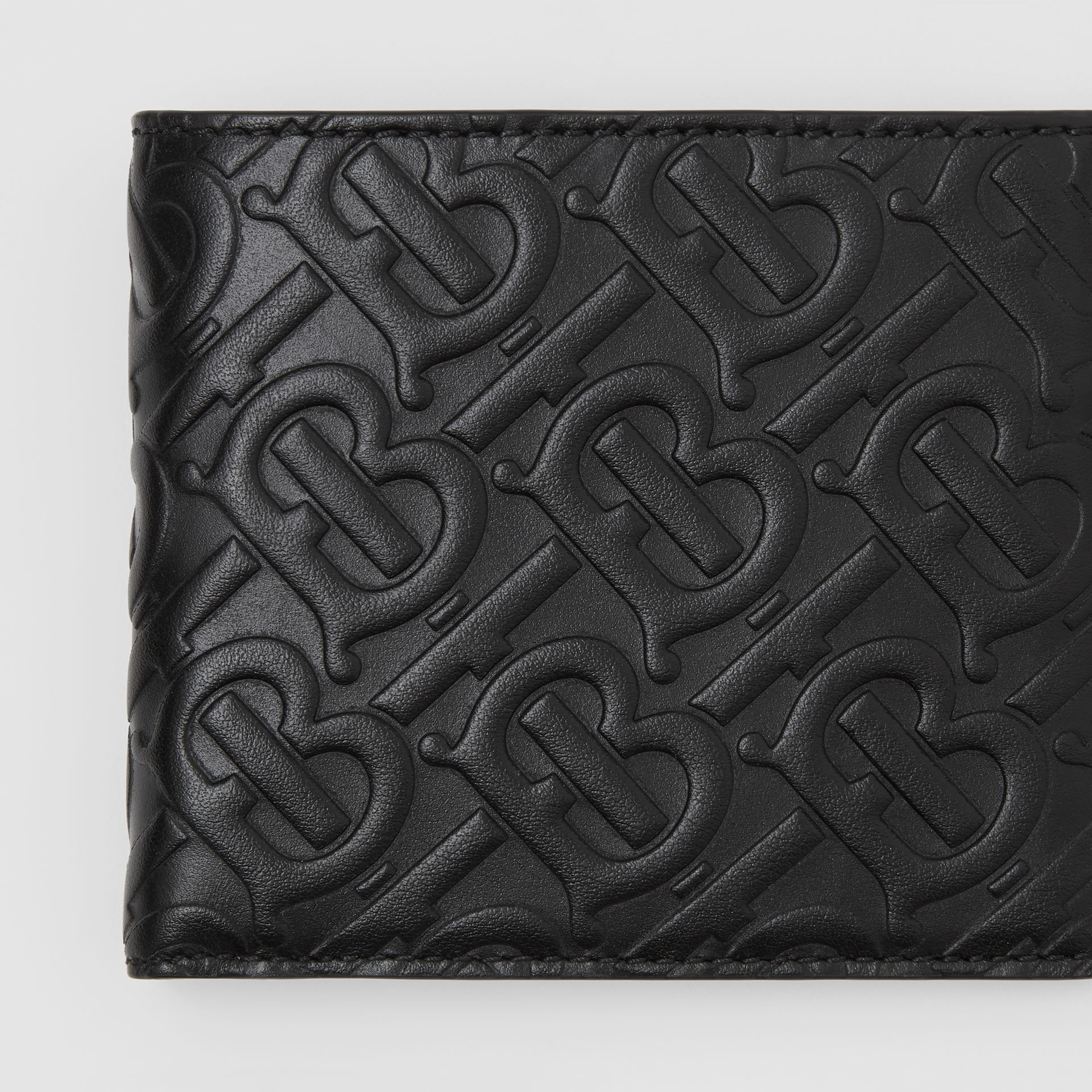 Monogram Leather International Bifold Wallet in Black - Men | Burberry United Kingdom - gallery image 1