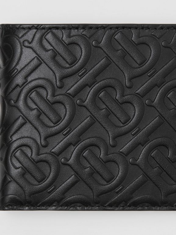 Monogram Leather International Bifold Wallet in Black - Men | Burberry United Kingdom - cell image 1