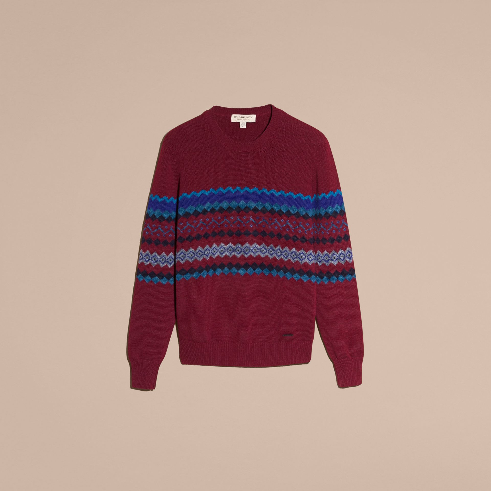 Burgundy Fair Isle Intarsia Cashmere Wool Sweater - gallery image 4