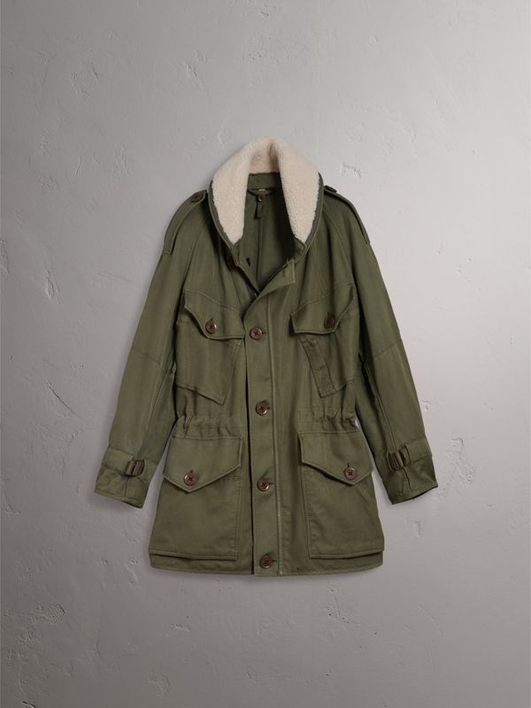 Shearling Collar Ramie Cotton Field Jacket in Olive - Men | Burberry - cell image 3
