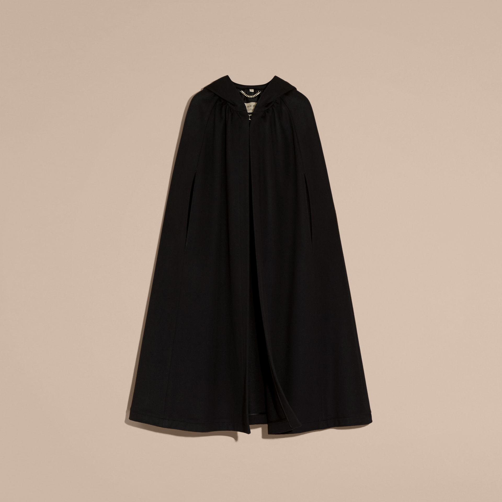 Black Hooded Wool Cashmere Cape - gallery image 4