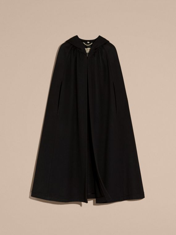 Black Hooded Wool Cashmere Cape - cell image 3