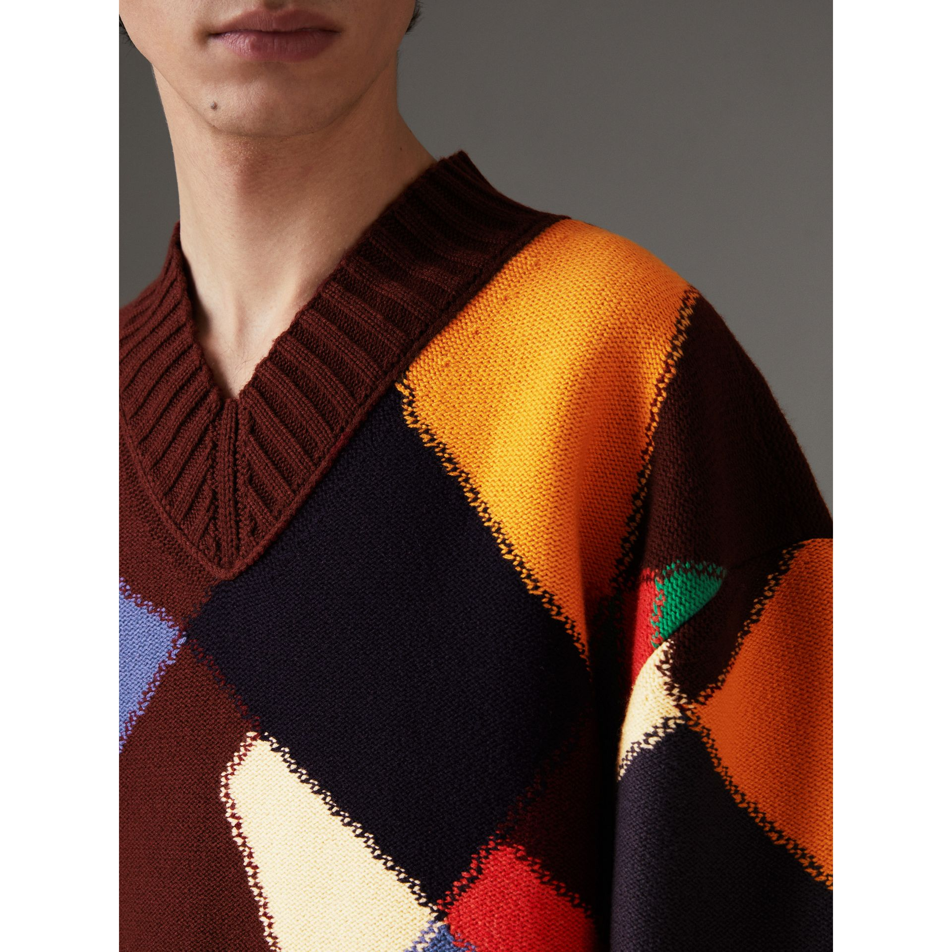 Patchwork Wool V-neck Sweater in Deep Claret | Burberry - gallery image 1