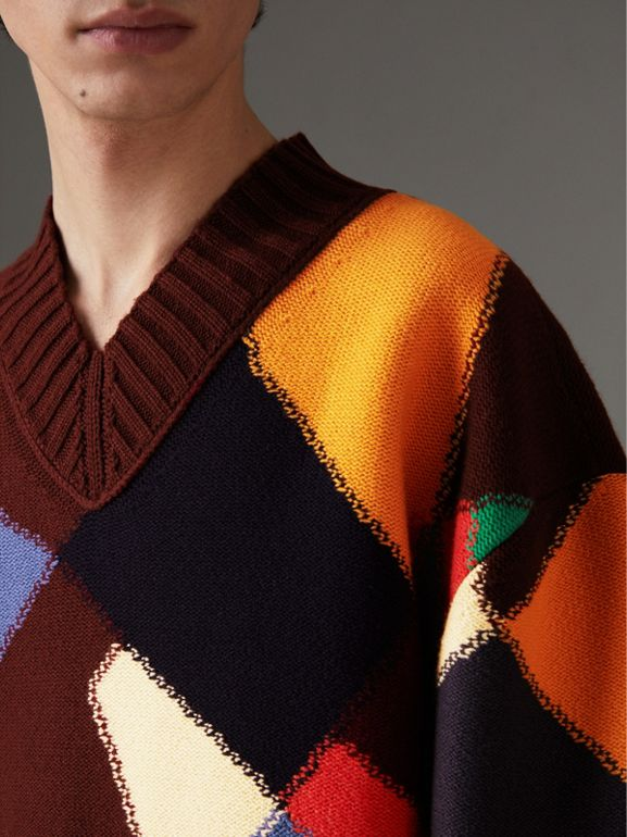 Patchwork Wool V-neck Sweater in Deep Claret | Burberry - cell image 1