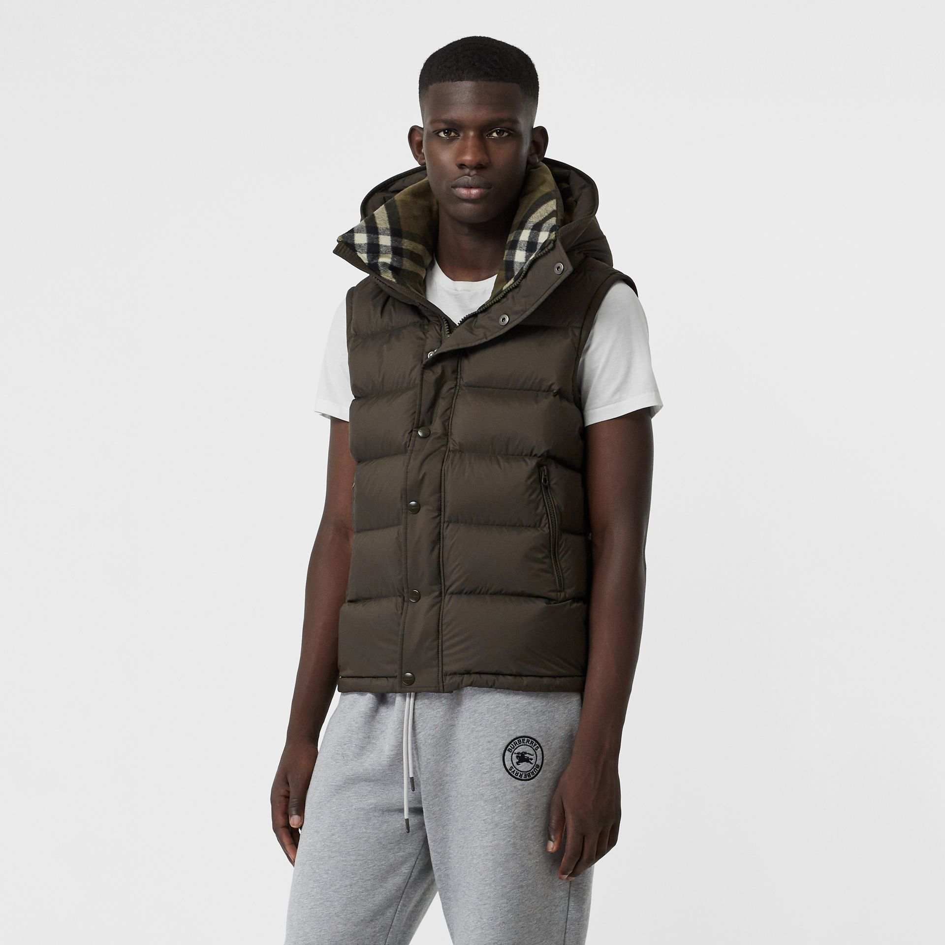 Detachable-sleeve Down-filled Hooded Puffer Jacket in Olive - Men | Burberry United States - gallery image 5