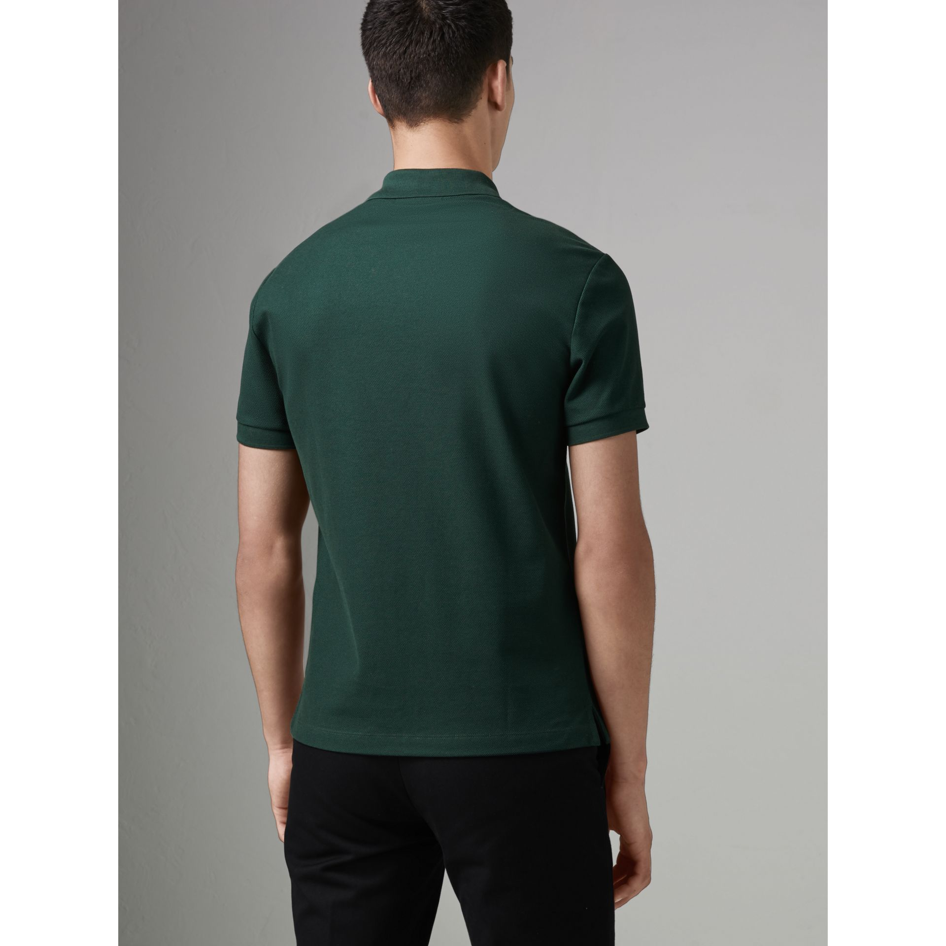 Archive Logo Cotton Piqué Polo Shirt in Dark Forest Green - Men | Burberry Singapore - gallery image 2