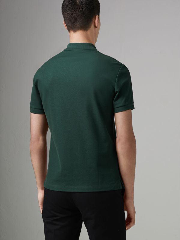 Archive Logo Cotton Piqué Polo Shirt in Dark Forest Green - Men | Burberry Singapore - cell image 2