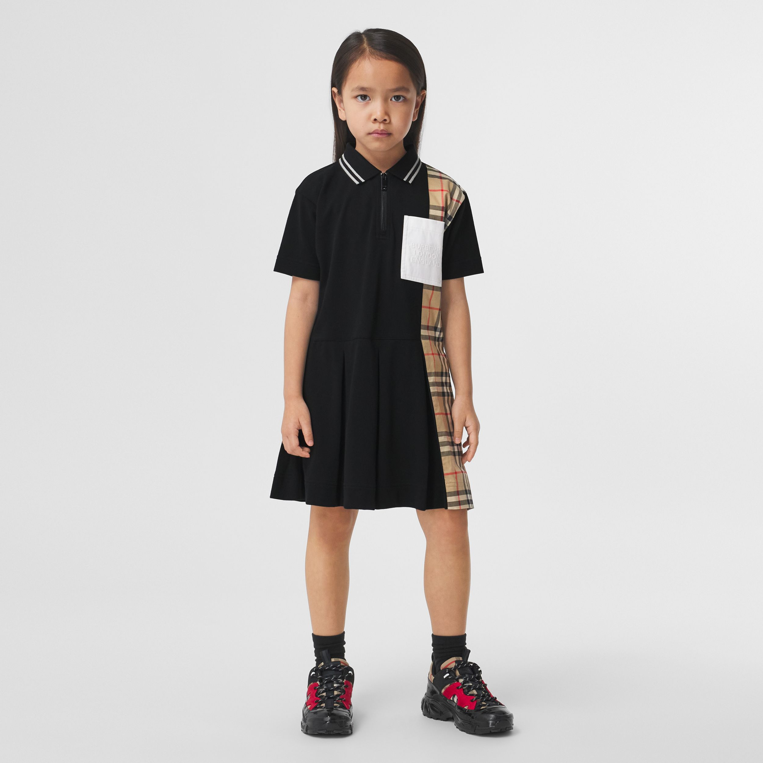 Vintage Check Panel Cotton Piqué Polo Shirt Dress in Black | Burberry - 3