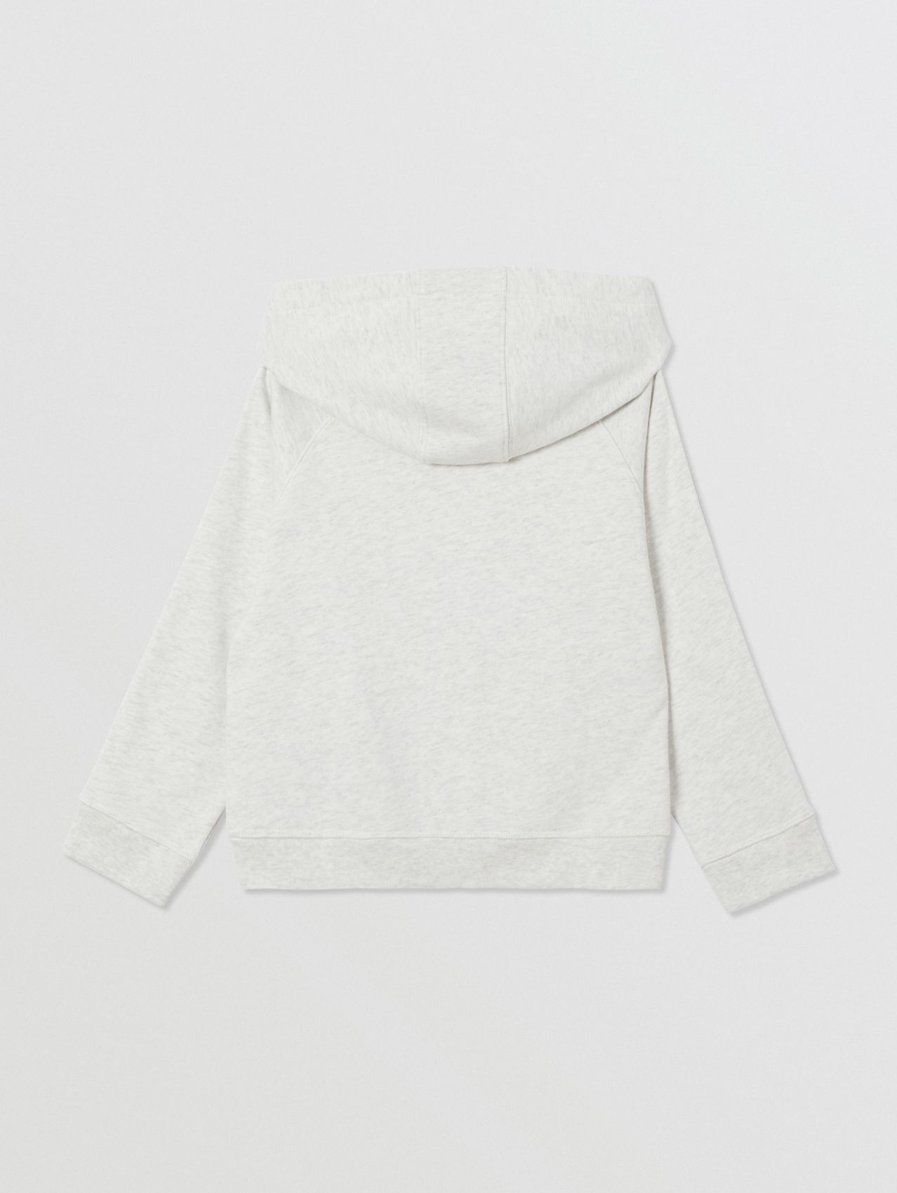 Logo Tape Cotton Hooded Top in White Melange