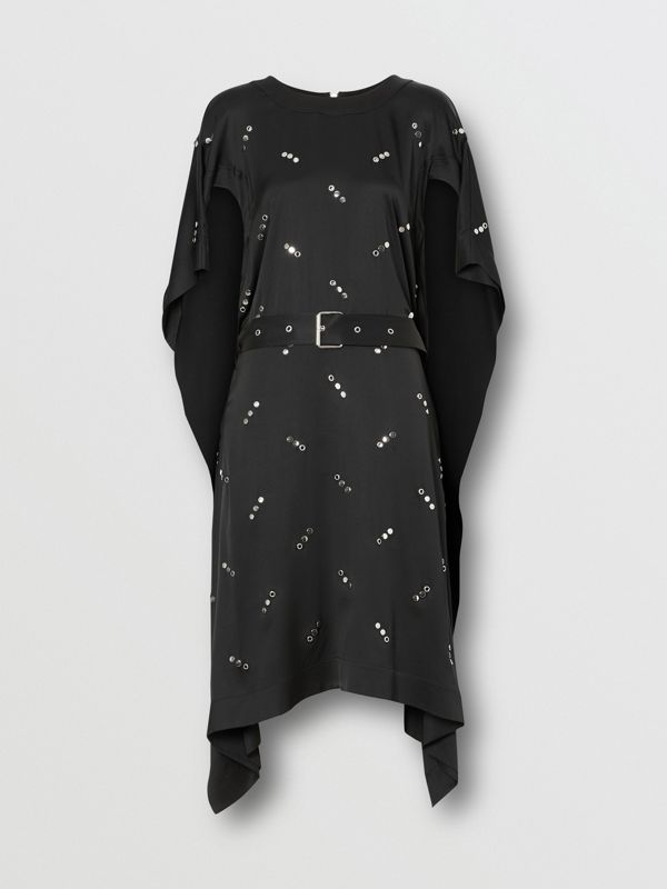 Cut-out Sleeve Embellished Silk Satin Dress in Black - Women | Burberry United States - cell image 3