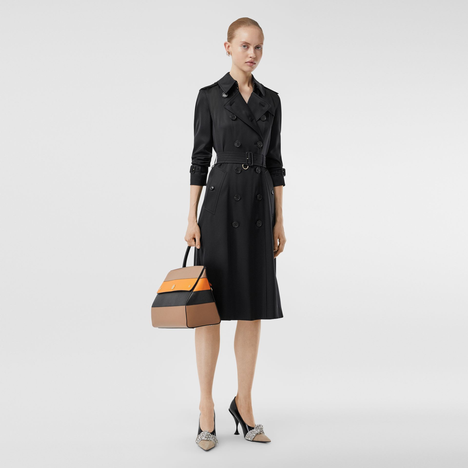Silk Satin Trench Coat in Black - Women | Burberry - gallery image 0