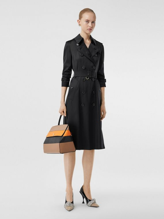 Silk Satin Trench Coat in Black