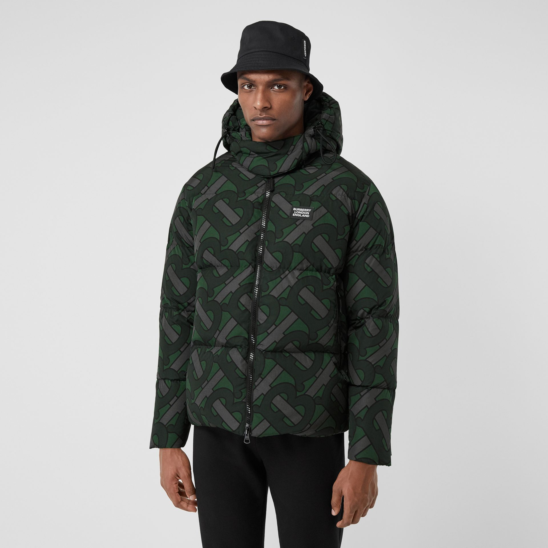 Monogram Print Puffer Jacket in Forest Green | Burberry - gallery image 5