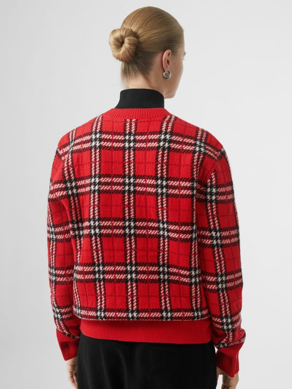 Check Cashmere Jacquard Sweater in Parade Red - Women | Burberry - cell image 2
