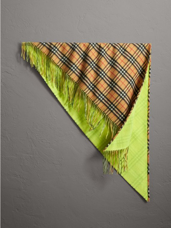 The Burberry Bandana in Vintage Check and Neon Cashmere in Bright Lemon