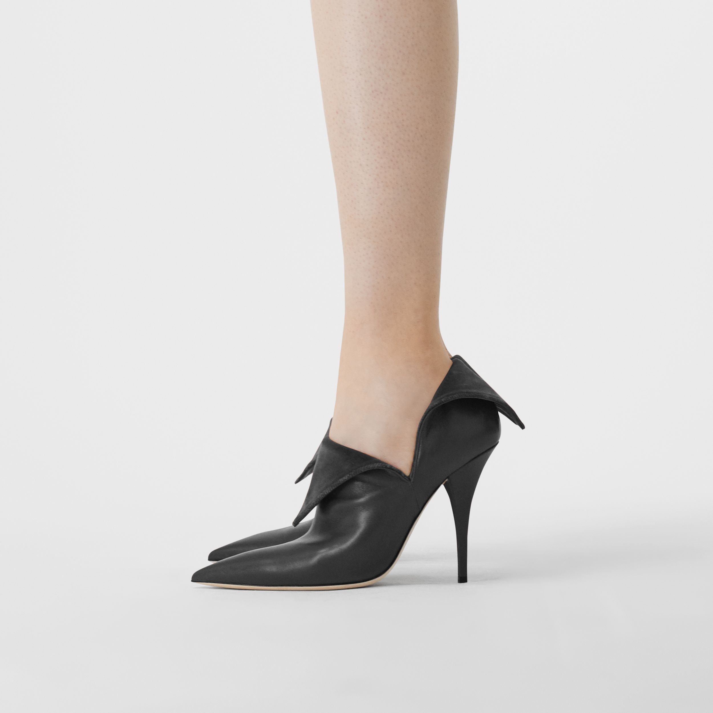 Velvet and Lambskin Foldover Point-toe Pumps in Black - Women | Burberry - 4