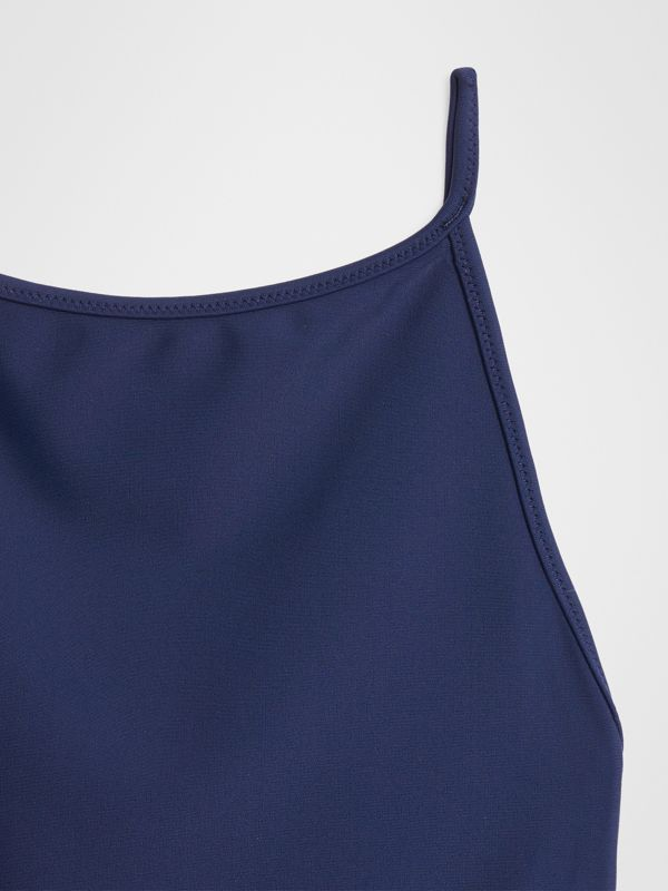 Check Detail One-piece Swimsuit in Navy | Burberry - cell image 3