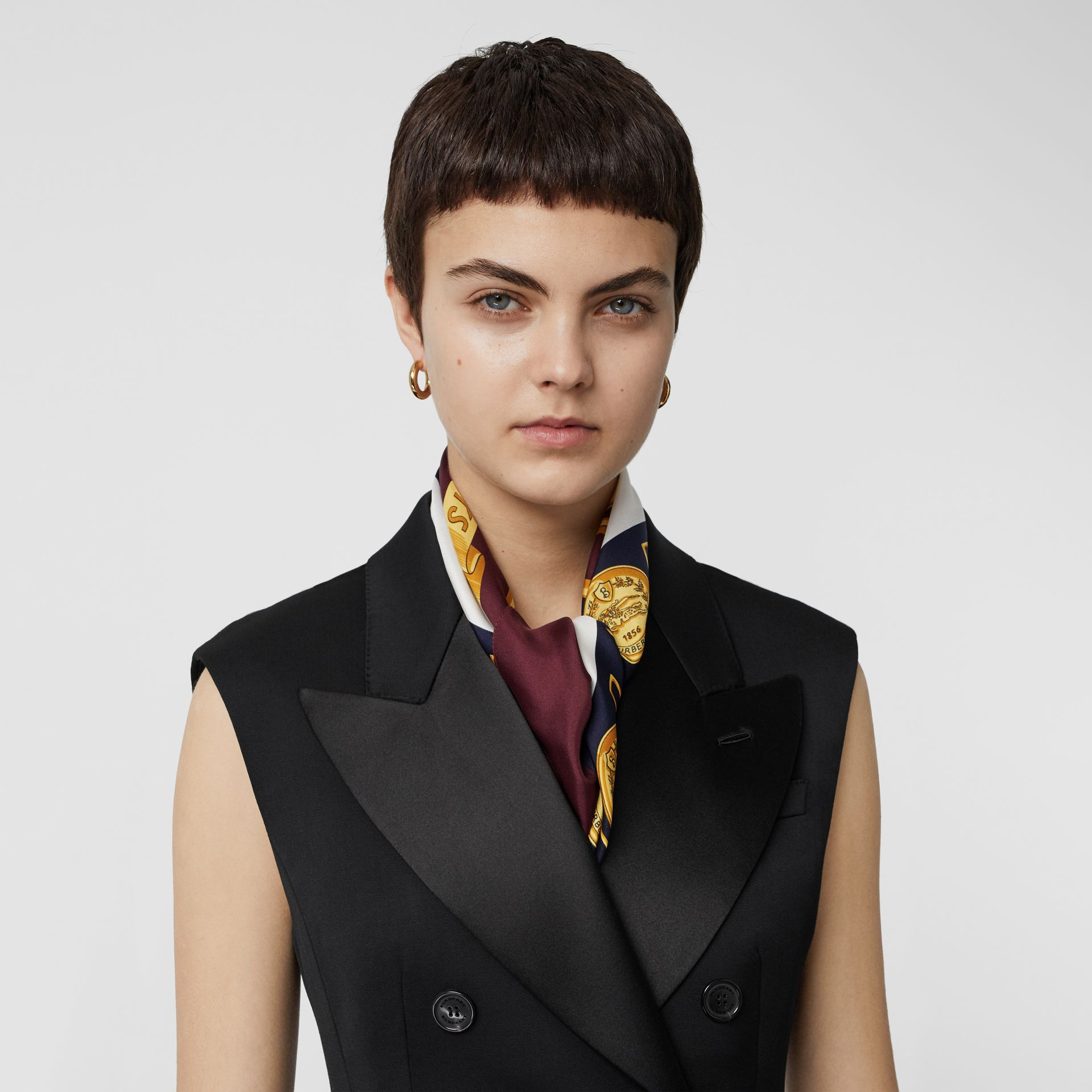 Sleeveless Stretch Wool Double-breasted Jacket in Black - Women | Burberry Australia - gallery image 1
