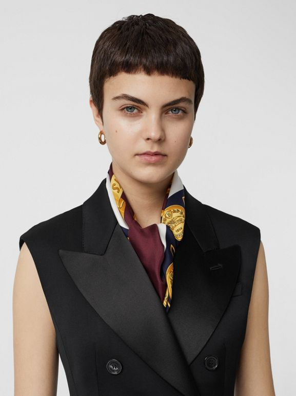 Sleeveless Stretch Wool Double-breasted Jacket in Black - Women | Burberry Australia - cell image 1