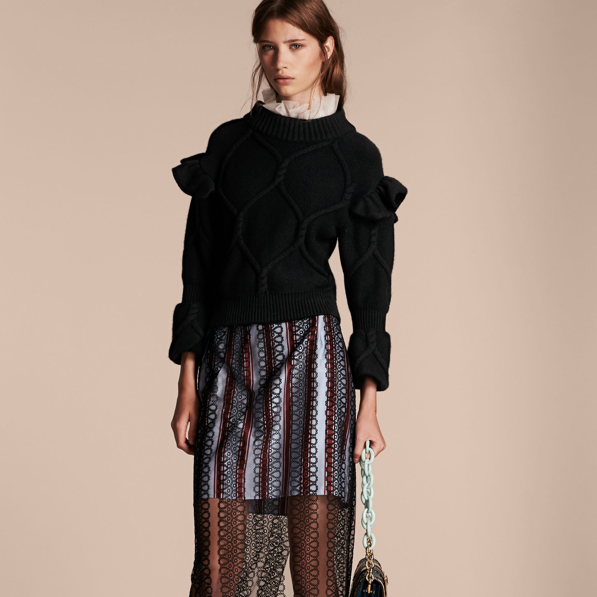 Cable Knit Wool Cashmere Sweater with Ruffle Bell Sleeves in Black - gallery image 6