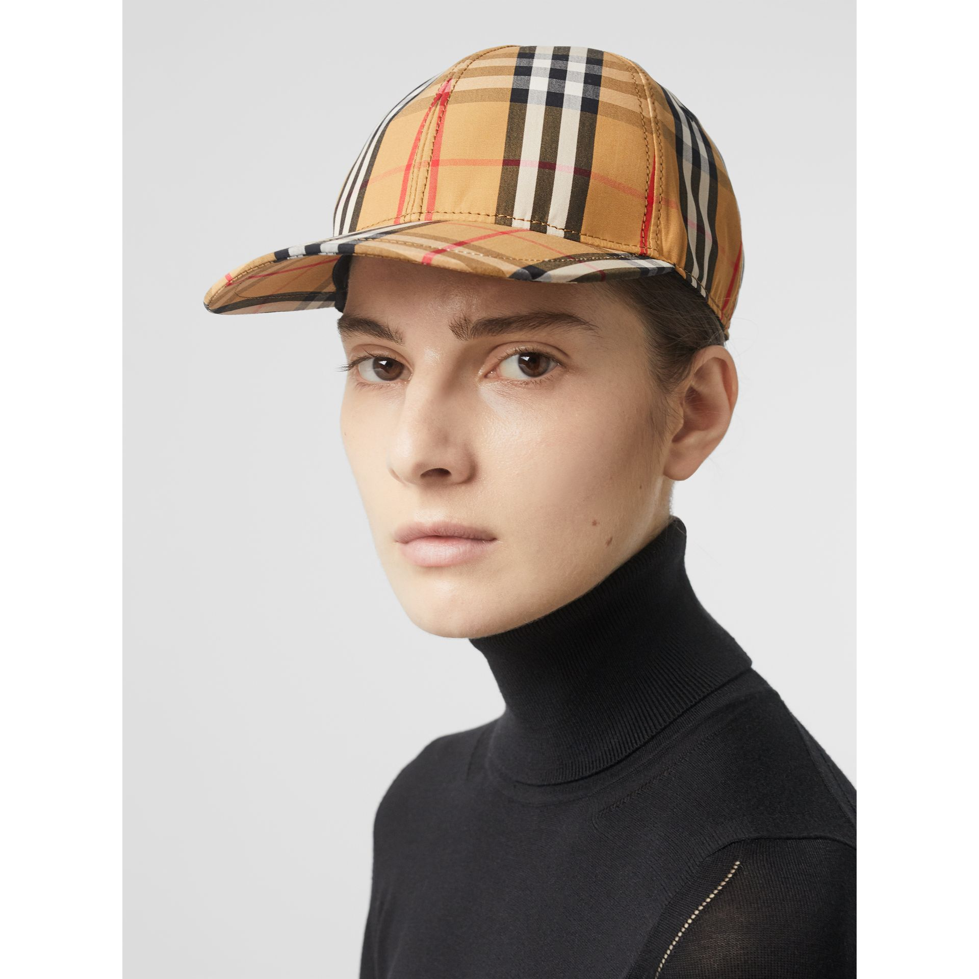 Vintage Check Baseball Cap in Antique Yellow | Burberry United Kingdom - gallery image 2