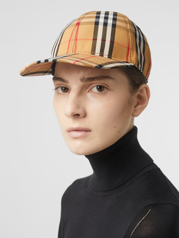 Vintage Check Baseball Cap in Antique Yellow | Burberry Hong Kong - cell image 2