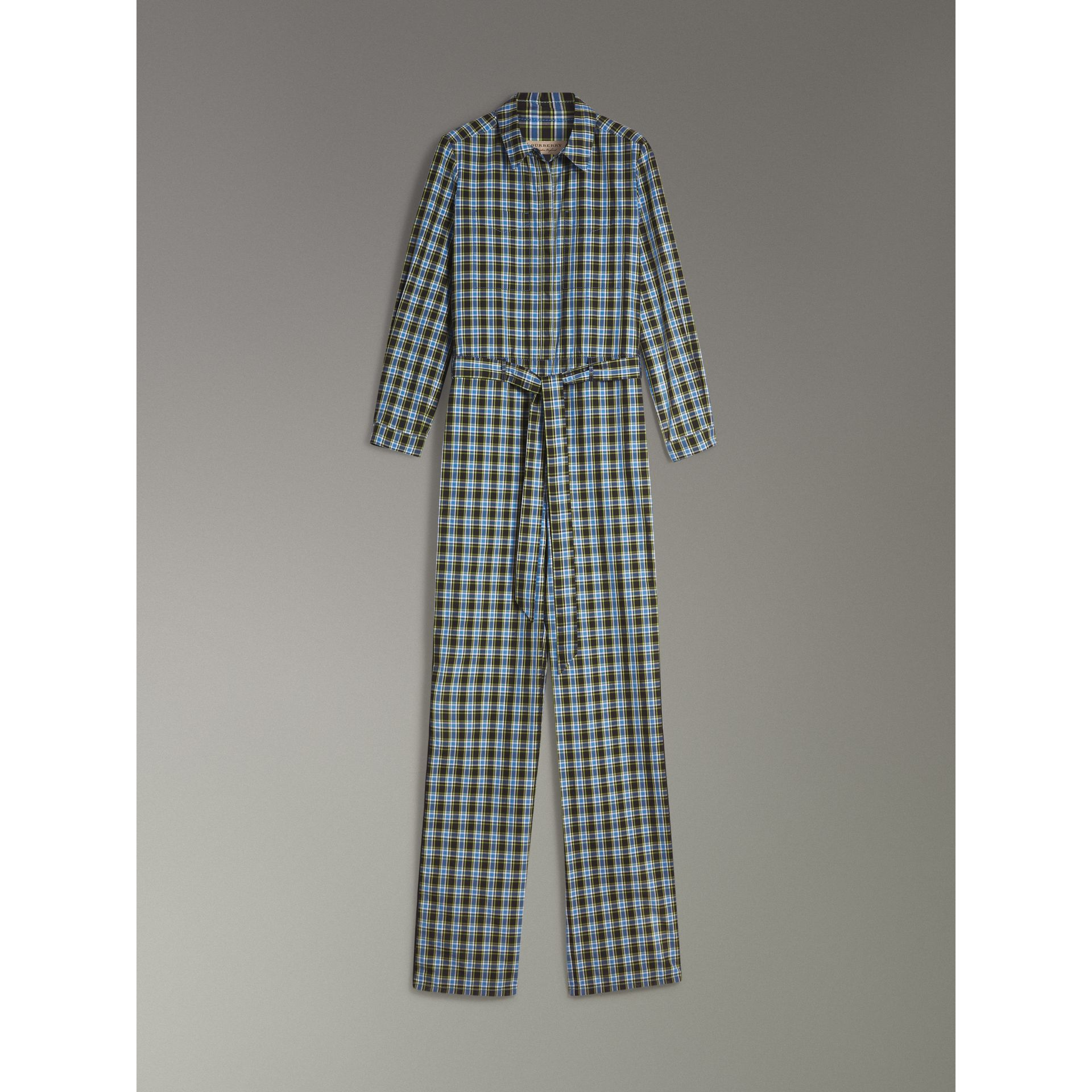 Check Cotton Silk Jumpsuit in Azure Blue - Women | Burberry - gallery image 3