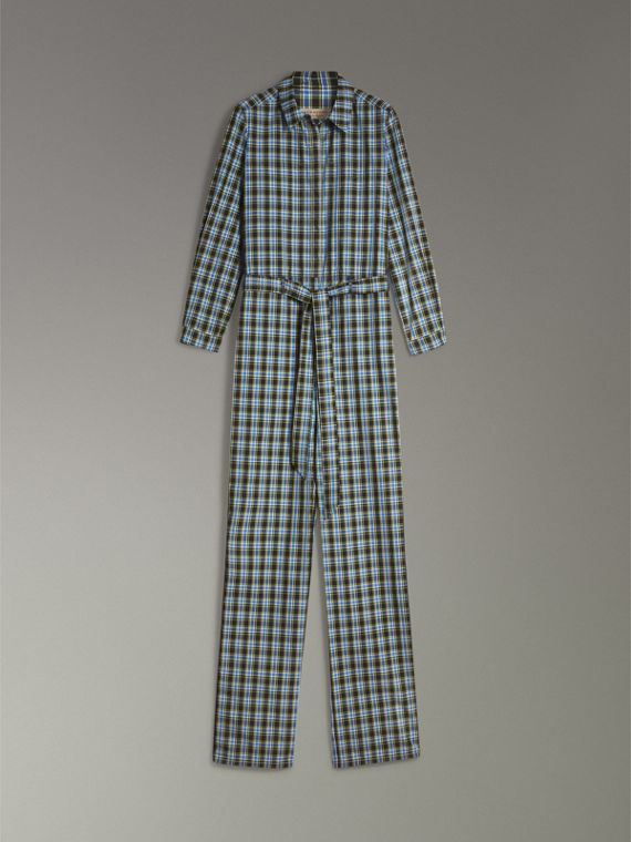 Check Cotton Silk Jumpsuit in Azure Blue - Women | Burberry - cell image 3