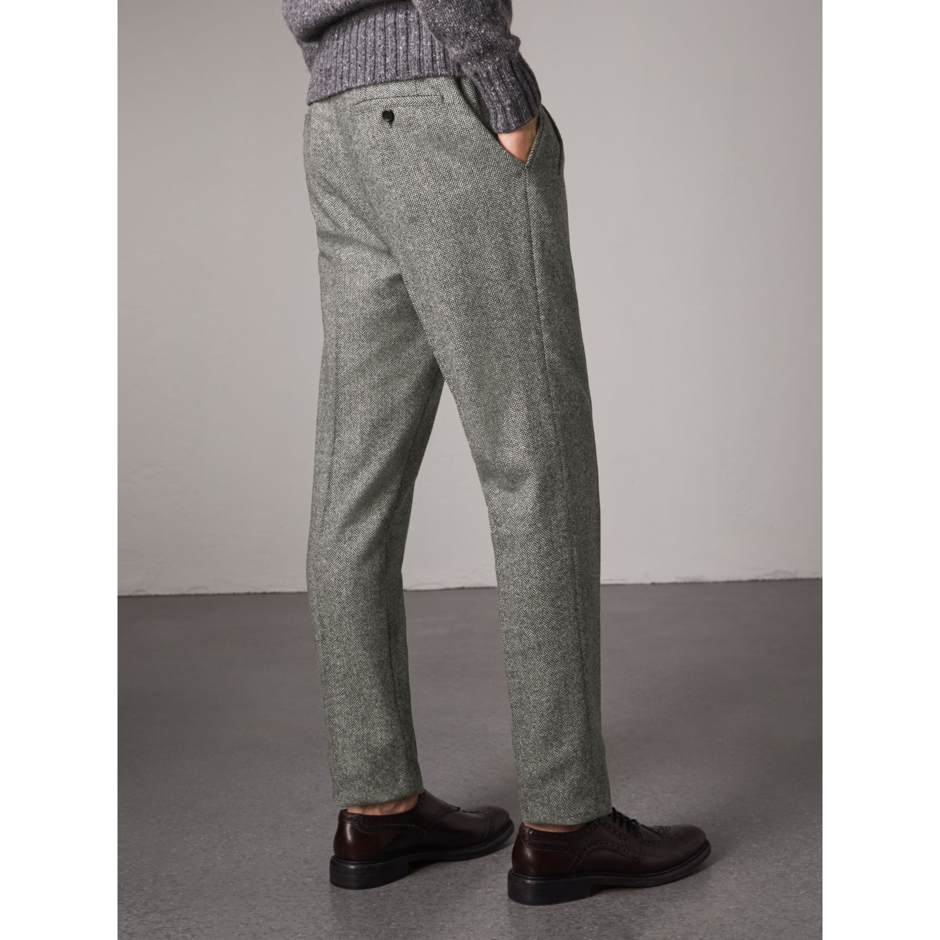 Soho Fit Herringbone Wool Trousers in Black/white - Men | Burberry - gallery image 2