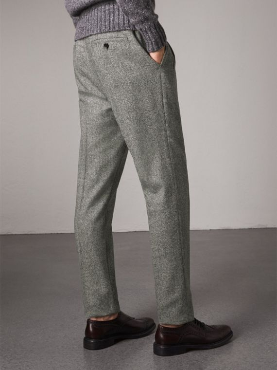 Soho Fit Herringbone Wool Trousers in Black/white - Men | Burberry - cell image 2