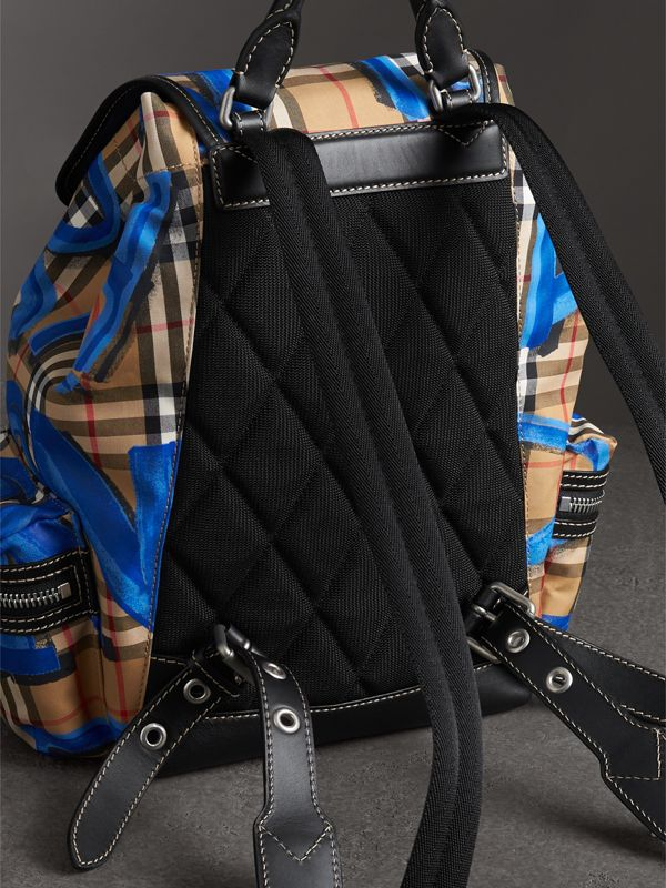The Medium Rucksack in Graffiti Print Vintage Check in Black - Women | Burberry Australia - cell image 2