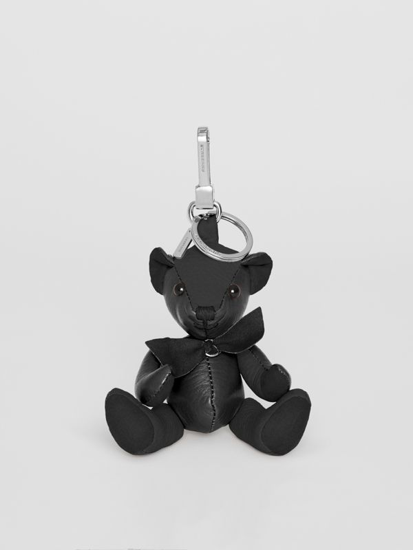 Thomas Bear Charm in Leather in Black | Burberry United Kingdom - cell image 2