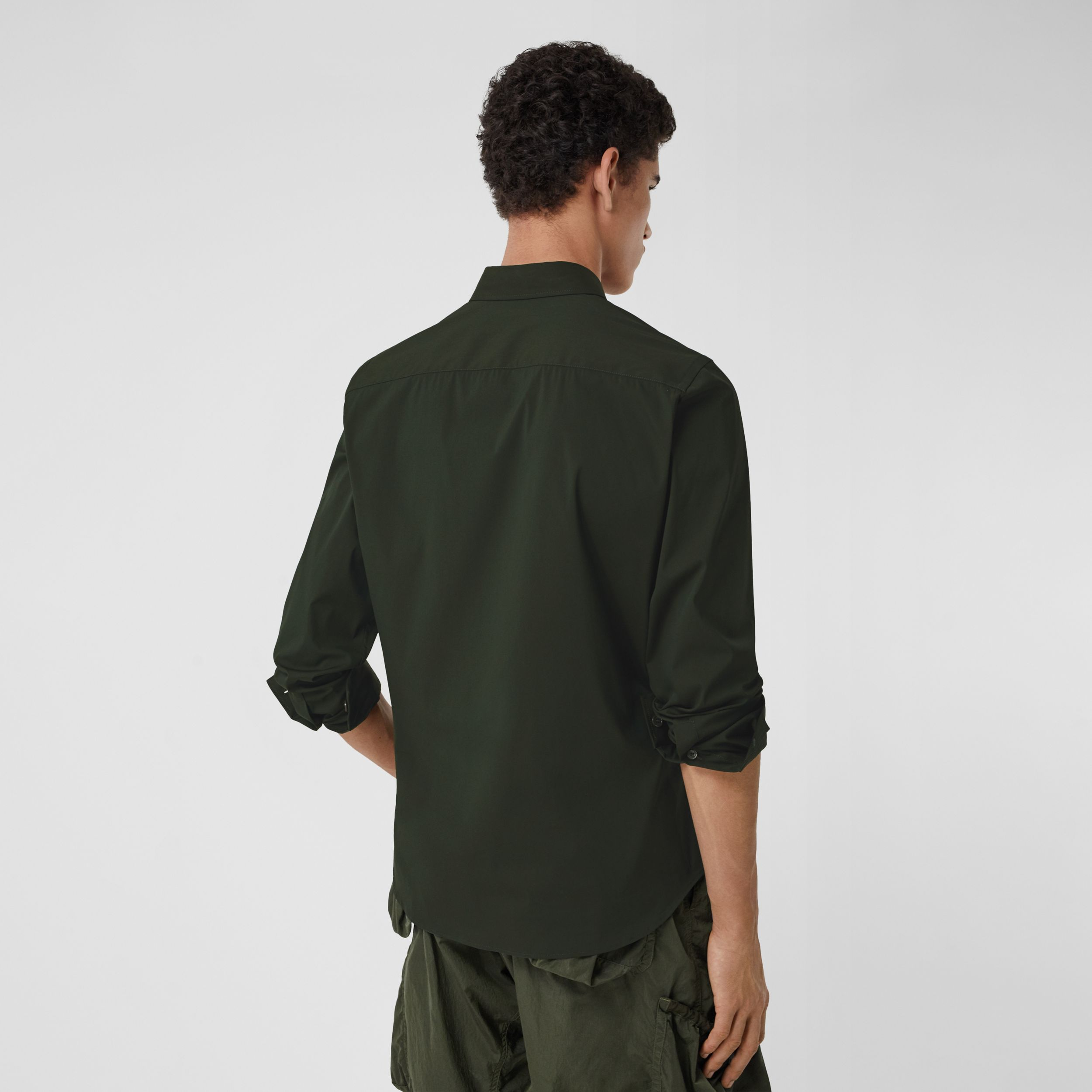 Embroidered Logo Cotton Blend Shirt in Forest Green - Men | Burberry - 3
