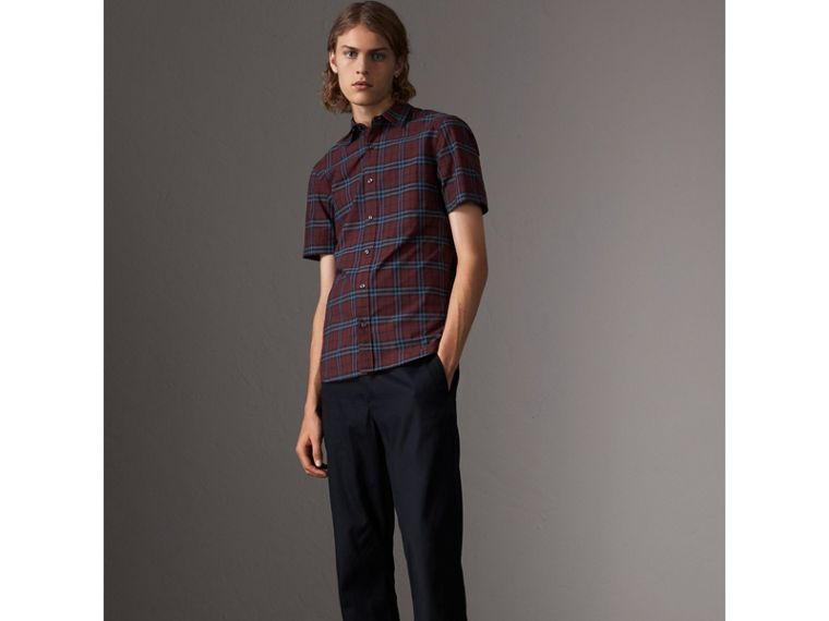Short-sleeve Check Cotton Shirt in Crimson Red - Men | Burberry - cell image 4
