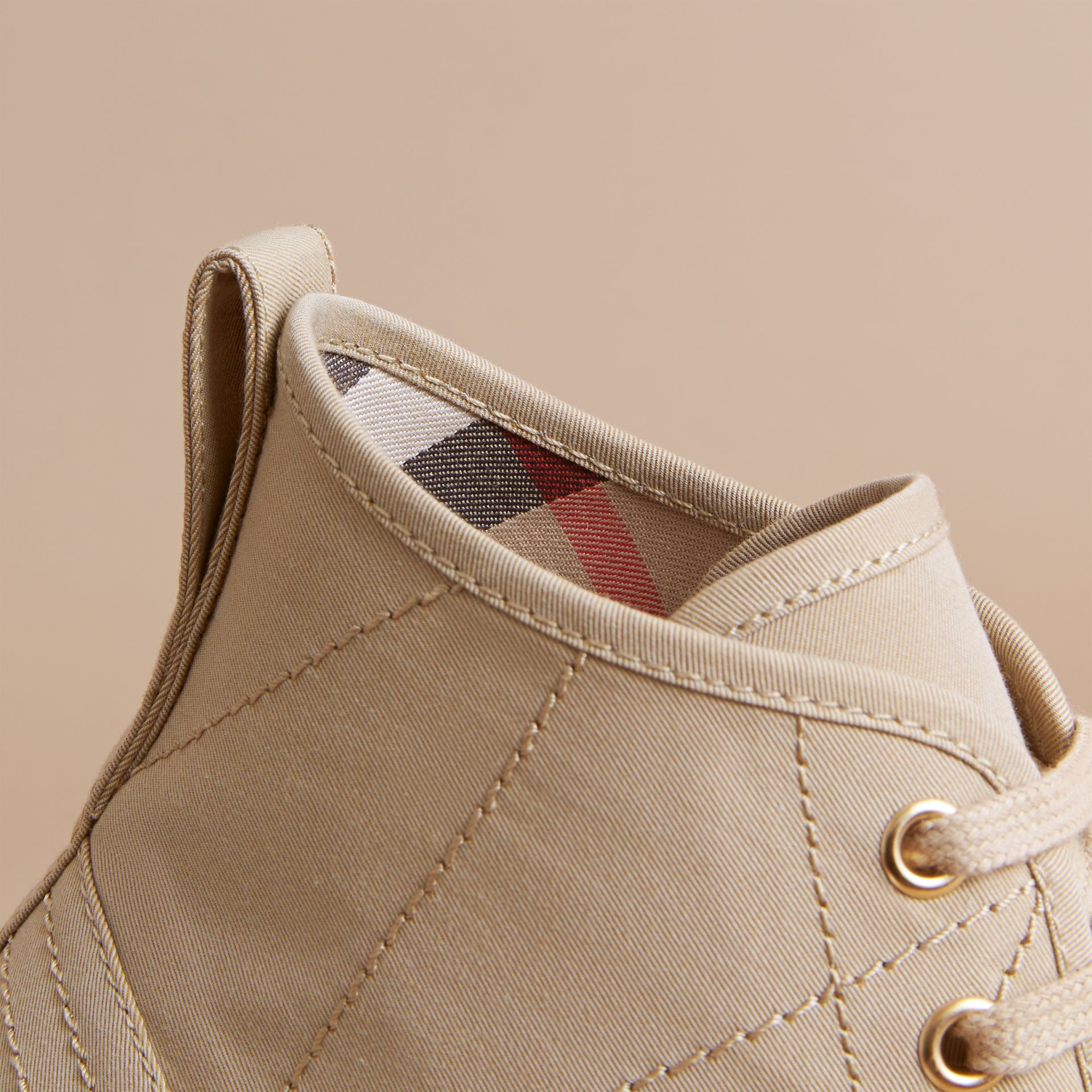 Topstitch Cotton Gabardine High-top Trainers in Honey - Men | Burberry United States - gallery image 2