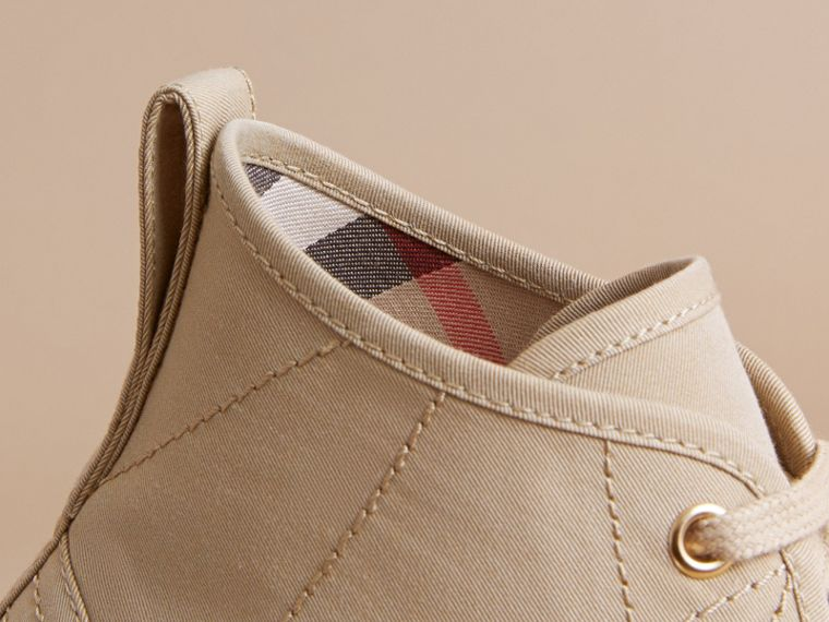 Topstitch Cotton Gabardine High-top Trainers in Honey - Men | Burberry - cell image 1