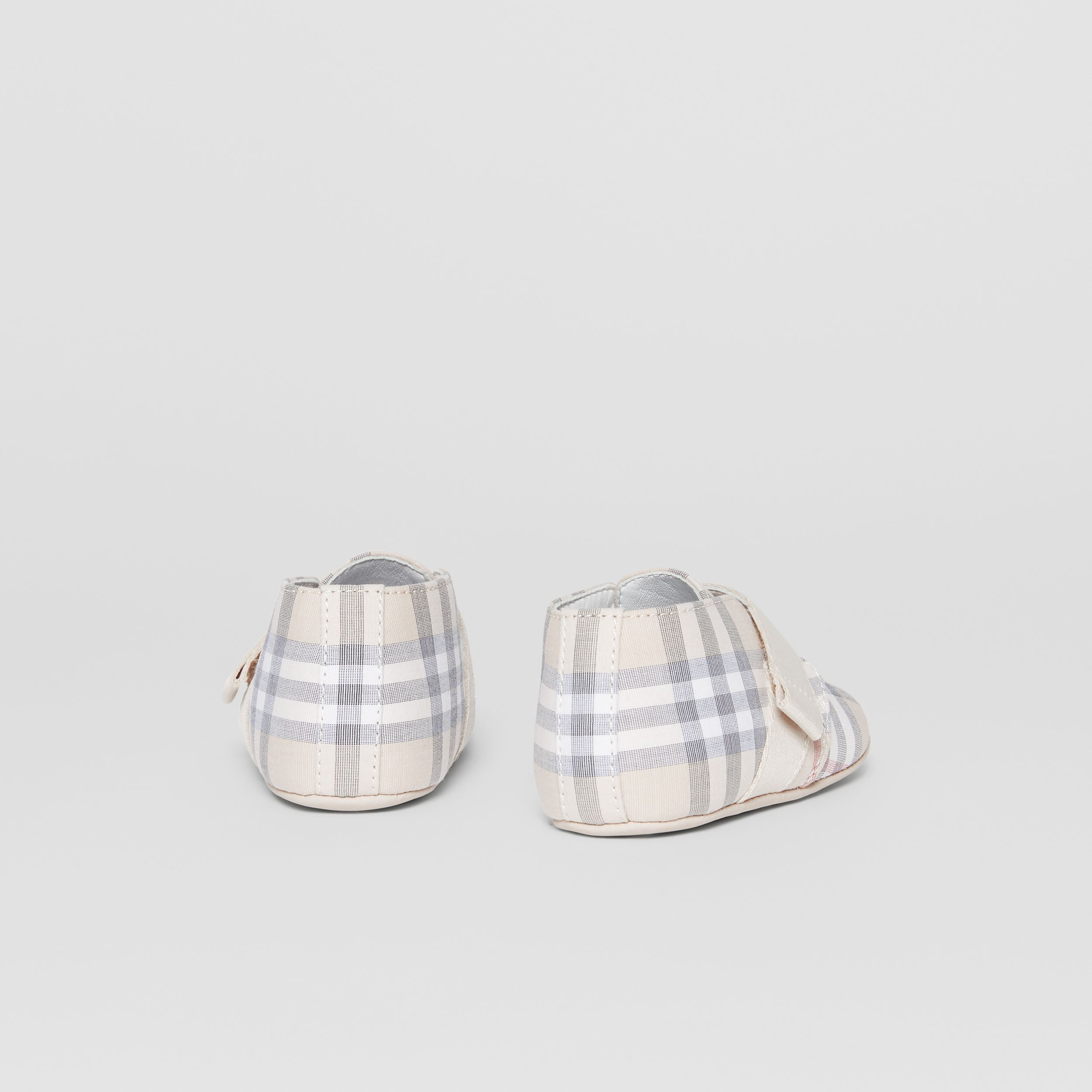 Check Cotton and Leather Booties in Pale Stone - Children | Burberry Australia - 3