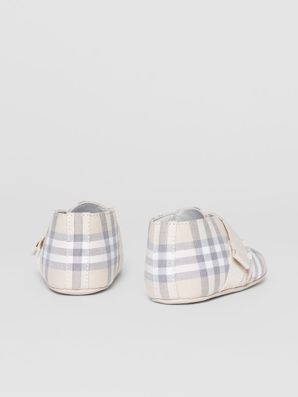 Check Cotton and Leather Booties in Pale Stone - Children | Burberry - cell image 2