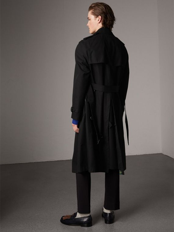 Tartan-lined Cotton Gabardine Trench Coat in Black - Men | Burberry United States - cell image 2