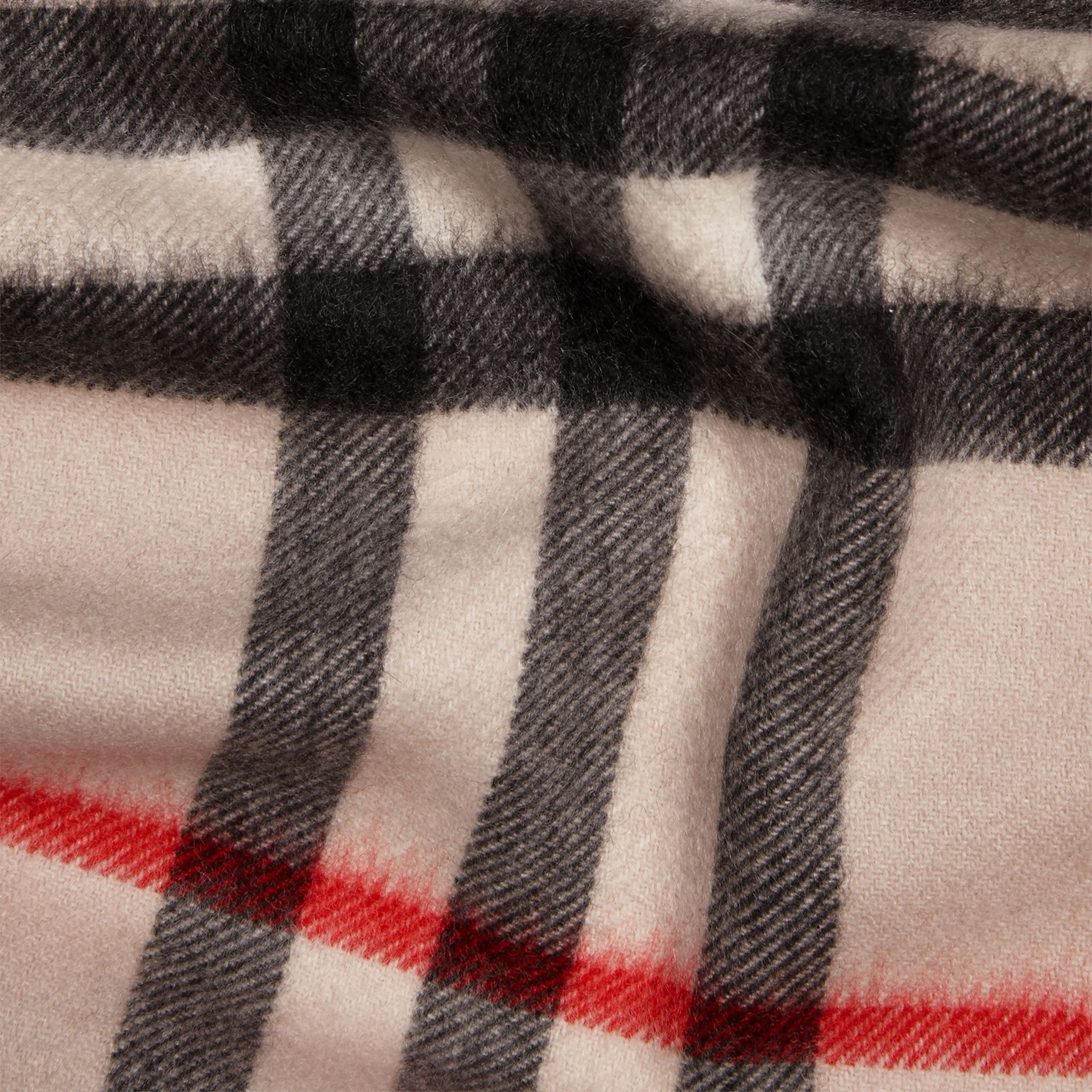The Mini Classic Check Cashmere Scarf in Stone | Burberry United Kingdom - gallery image 4