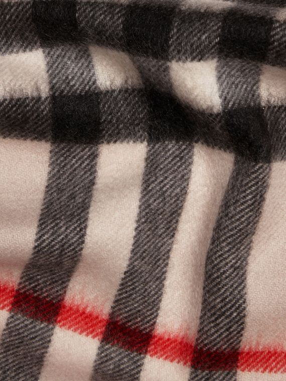 The Mini Classic Cashmere Scarf in Check Stone - cell image 3