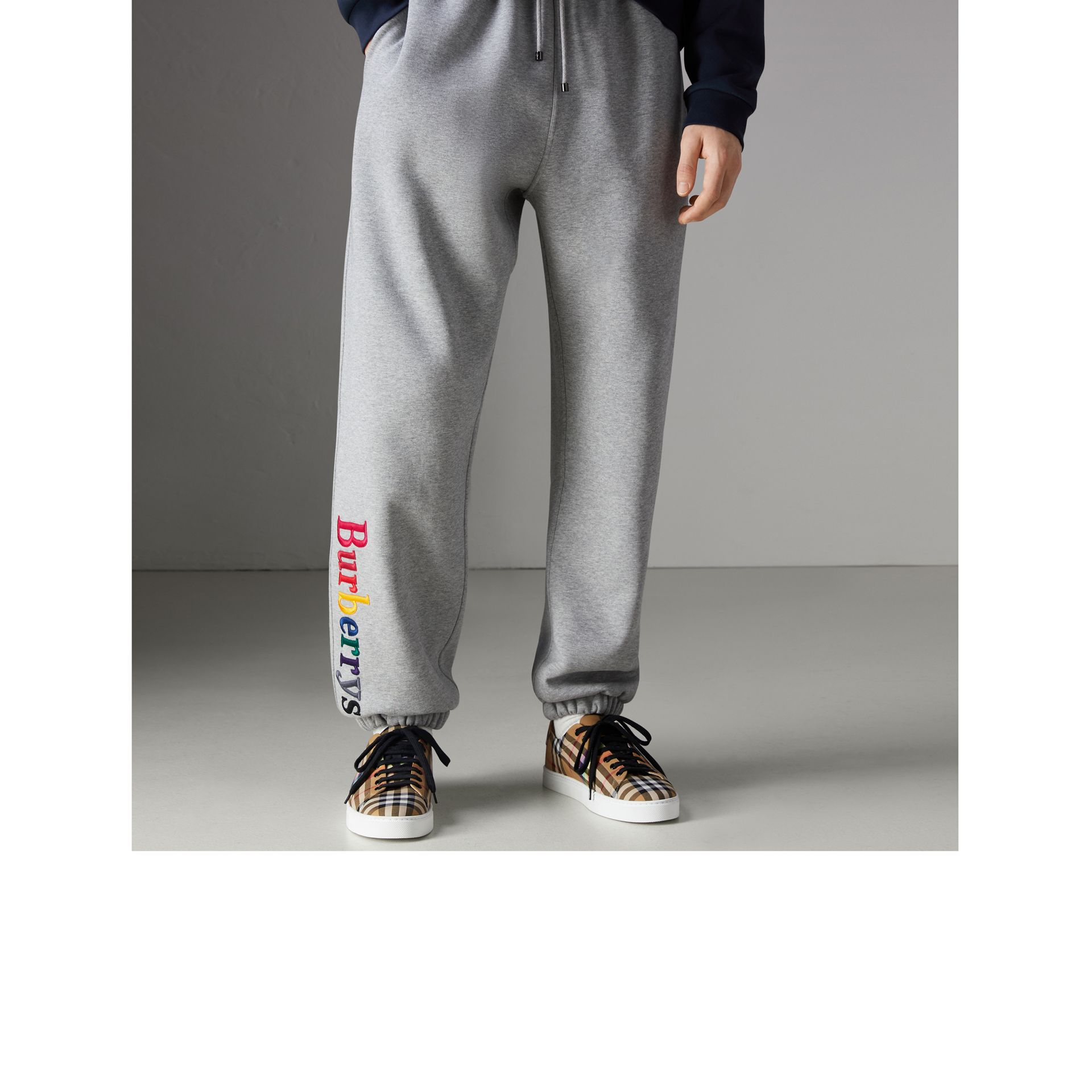 Archive Logo Jersey Sweatpants in Grey Melange - Men | Burberry Australia - gallery image 4