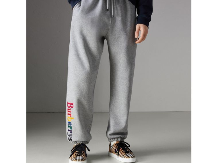 Archive Logo Jersey Sweatpants in Grey Melange - Men | Burberry - cell image 4