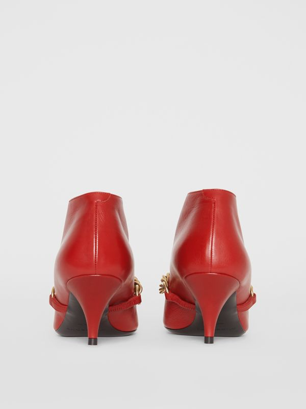 Link Detail Leather Ankle Boots in Claret - Women | Burberry Singapore - cell image 3