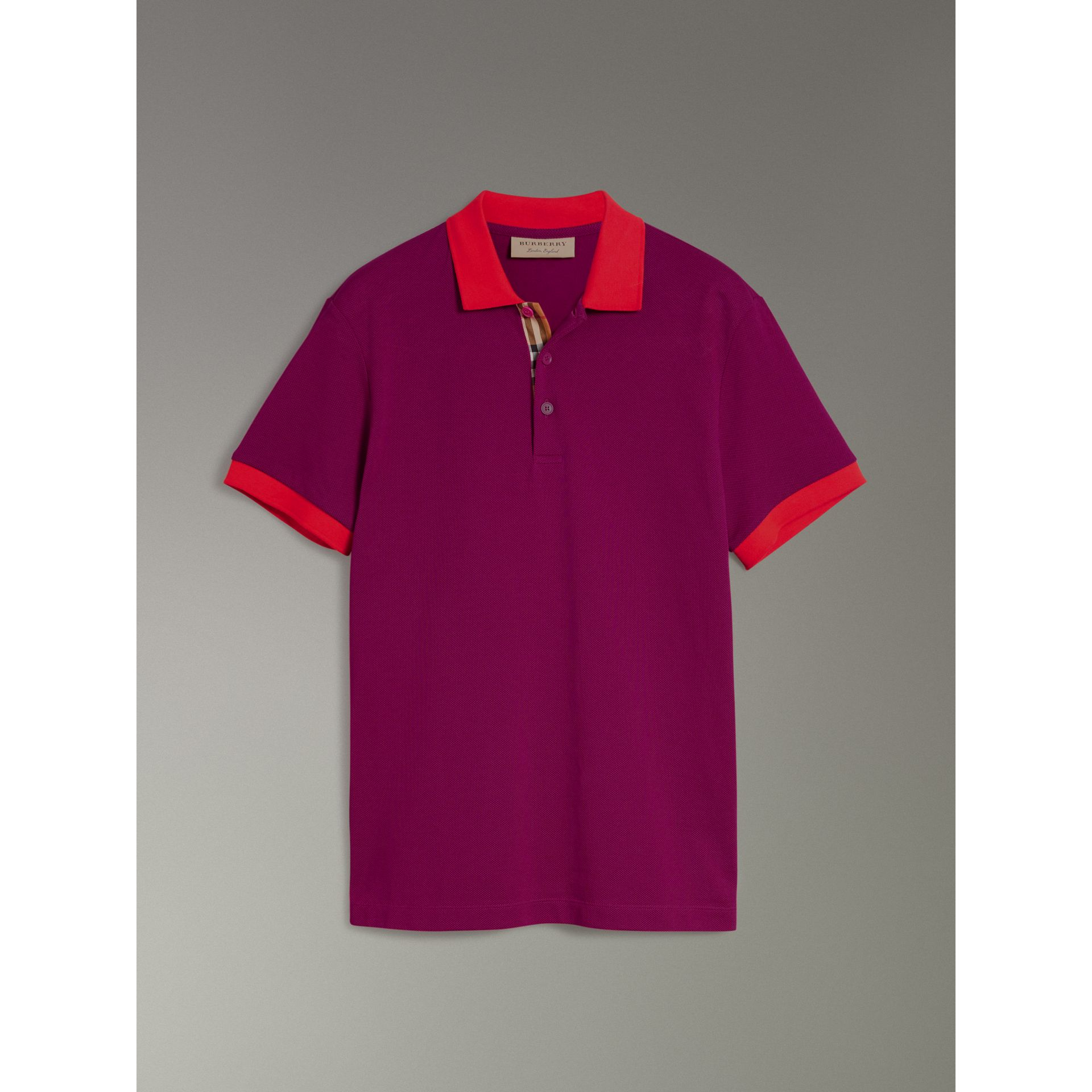 Contrast Collar Cotton Polo Shirt in Plum Pink - Men | Burberry - gallery image 3