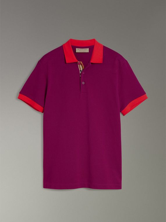 Contrast Collar Cotton Polo Shirt in Plum Pink - Men | Burberry - cell image 3