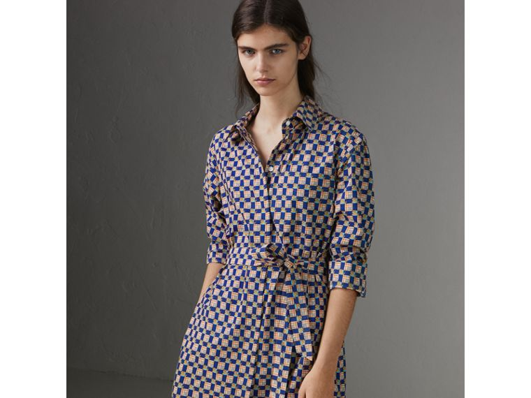 Tiled Archive Print Cotton Shirt Dress in Navy - Women | Burberry Singapore - cell image 4