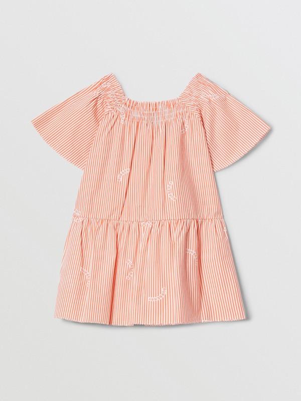 Ruched Neck Stripe Print Cotton Silk Dress in Coral Orange - Children | Burberry United Kingdom - cell image 3