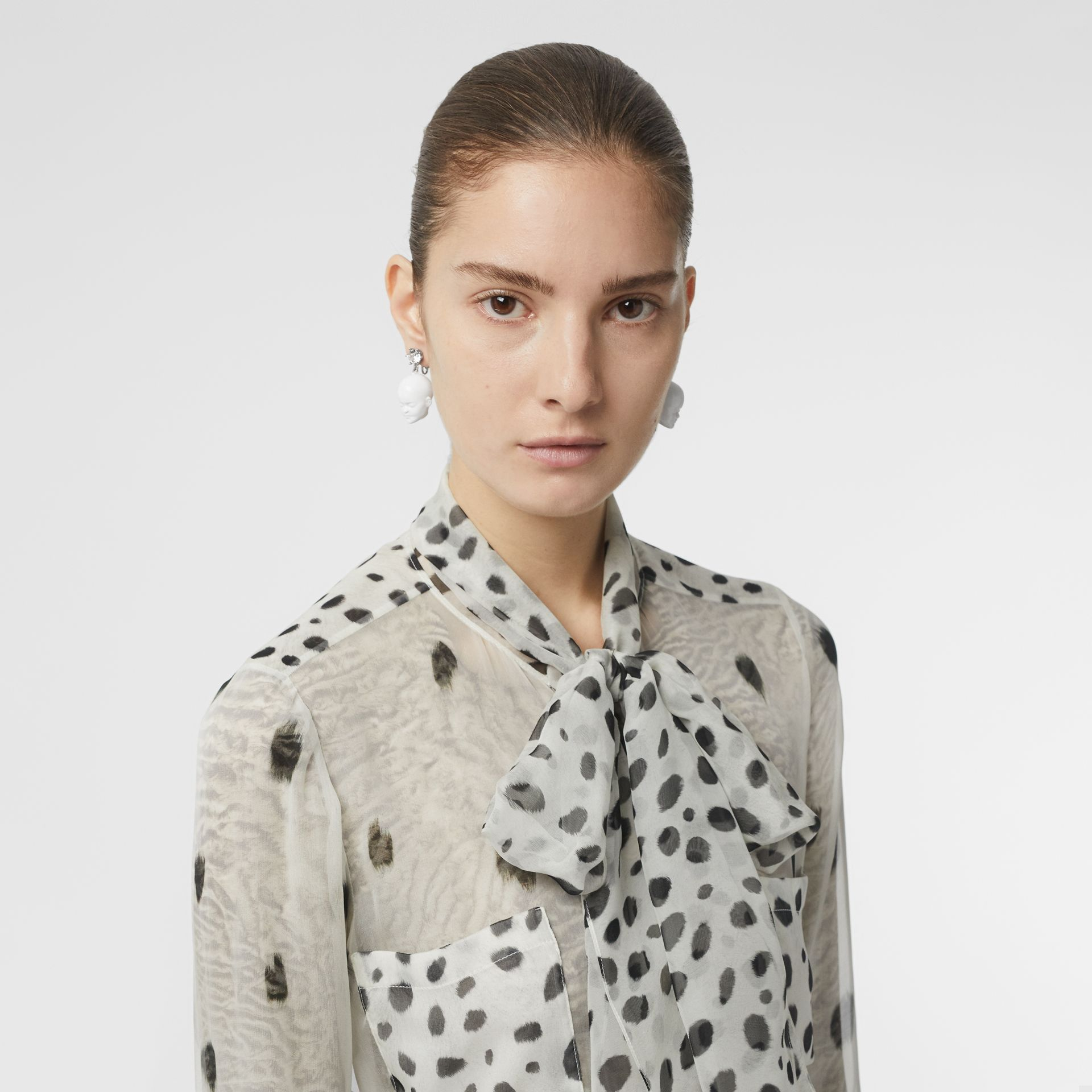Dalmatian Print Silk Pussy-bow Blouse in Black/white - Women | Burberry United Kingdom - gallery image 7